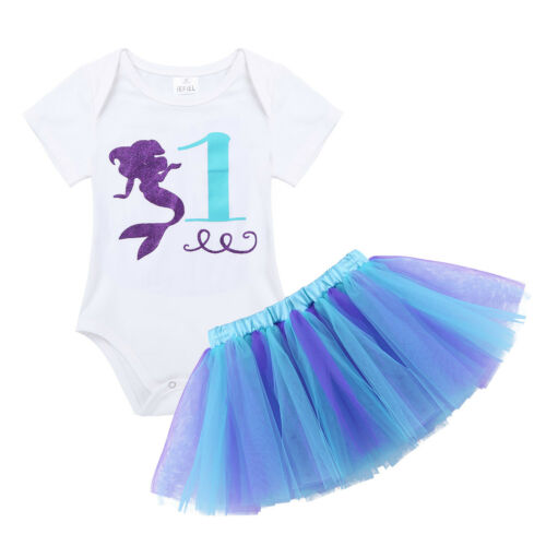 Infant Baby Girls Outfit Birthday Romper Tutu Skirt Headband Set Party Costume