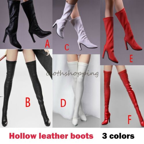 1//6 Female Leather Long Boots High Heels Shoes Model 17XZ F 12/'/' Action Figure