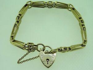 9ct-Yellow-Gold-18-cm-Gate-Bracelet-and-Love-Heart-Locket-21-4-Grams
