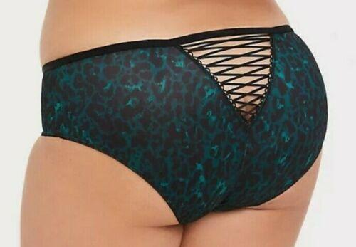 Torrid Emerald Green Leopard Microfiber Lattice Hipster Panty         NWT  sz 3