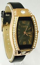 NEW Stylish GOLD DIAMANTE Wrist Watch With BLACK strap UK SELLER