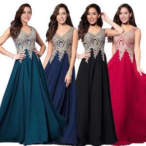 Details about Gold Applique V Neck Long Bridesmaid Formal Party Prom  Dresses Plus Size Wedding