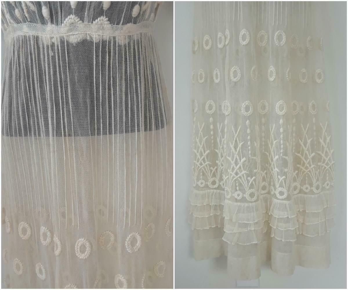 Lovely Antique Edwardian Embroidered Cotton Net D… - image 10