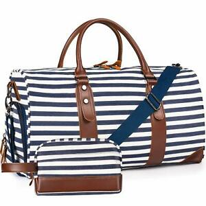 Leather-Striped-Bag-Weekender-Style-Duffle-Travel-Canvas-Blue-White-Tote-Large