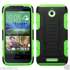 HTC Desire 510 Hybrid AA Cover w/Kickstand C Armor Skin Case Black Green
