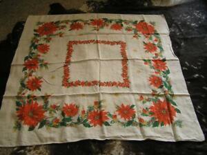 Vintage 30 S Cotton Linen Poinsettia Candle Christmas Tablecloth 47 5 Square Ebay