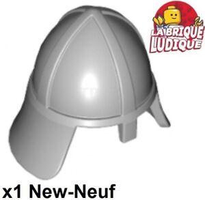 Lego - 1x Minifig headgear casque castle helmet gris/light bluish gray 3844 NEUF