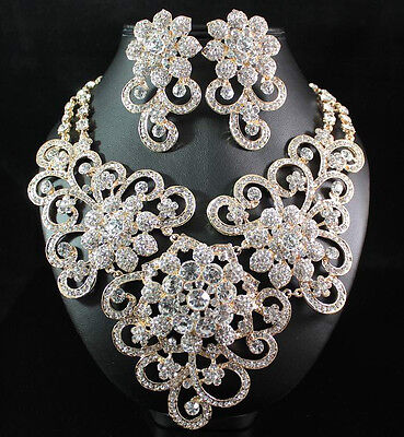 QUEEN AUSTRIAN RHINESTONE CRYSTAL BIB NECKLACE EARRINGS SET BRIDAL N1426-GOLD