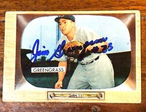 1955-Bowman-49-Jim-Greengrass-Hand-Signed-Auto-Autographed-Card-Reds