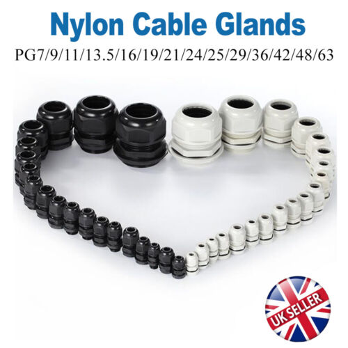IP68 WHITE BLACK NYLON CABLE GLAND NUT SPIRAL TAIL PG7//9//11//13.5//16//19//21//24-29