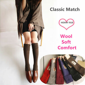 3Pairs-Women-90-Wool-Cashmere-Knee-High-Thick-Warm-Girl-turnup-Design-Boot-Socks