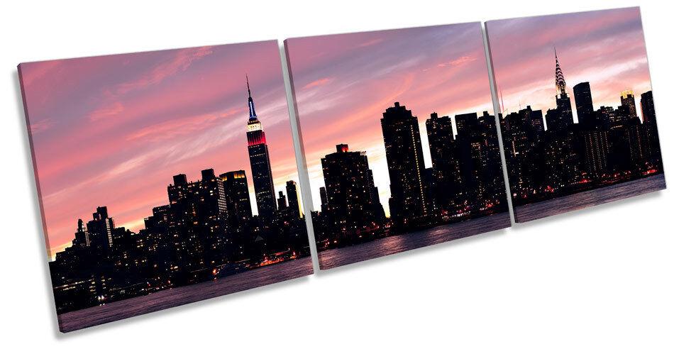 New York City Dusk Sunset CANVAS WALL ART TREBLE Box Frame Print