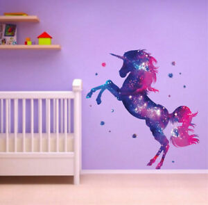 Details about Unicorn Stars Wall Stickers Fantasy Girls Bedroom Wall Art  Cute Nursary Decal