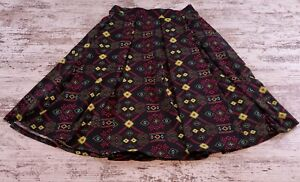 Womens-Lularoe-Madison-Skirt-Pleated-Size-XS-Pockets-Black-Neon-Below-the-Knee