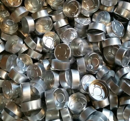 100 Aluminum Tealight Cups w//Wicks Metal Containers NEW