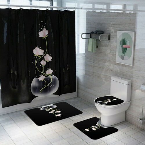 Bathroom Shower Curtain Toilet Cover Carpet Pedestal Rug Lid Bath Mat Anti Slip