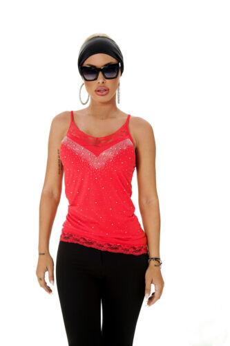 Schwarz S shirt T Trägertop Damentop Xs Spitze Unterhemd Strass M By Rot Alina wq6zABxf