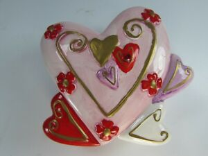 Trinket Box with Piglet Rub-Ons  Heart Shape Paper Mache Box Hand Painted Jewelry Box Keepsake Box