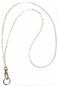 Non-Breakaway-Simple-White-Fashion-Women-039-s-Beaded-Lanyard-34-inches-STRONG