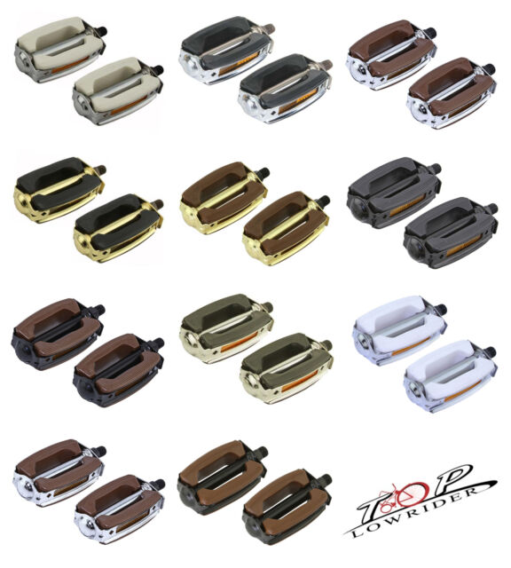 "New Bicycle Krate Rubber Pedals1//2/"" or 9//16/"" Black//Gold"