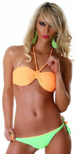 Bandeau Neckholder Bikini zweifarbig beidseitig tragbar Bademode Strand Größe