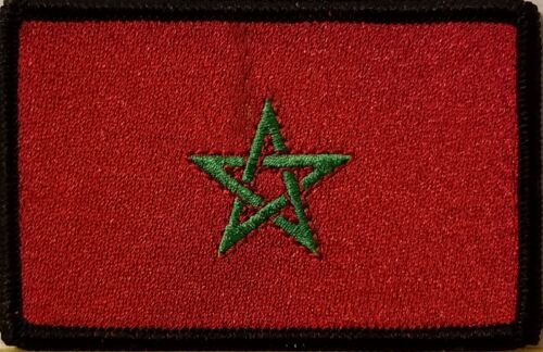 Morocco Flag Iron-On Patch Tactical Morale Emblem Black Border