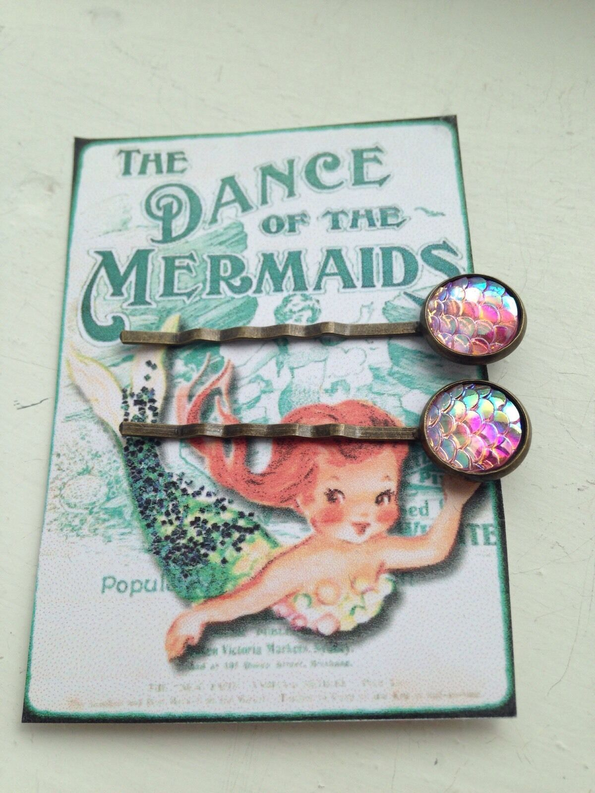 Mermaid Dragon Scale Pink OR ANY COLOUR Bobby Pins Hair Grips Bronze Rockabilly
