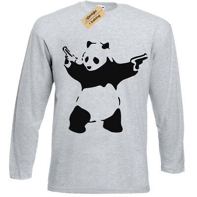 Banksy Panda T-Shirt ladies Long Sleeve Urban Graffiti Cool Fashion womens Top