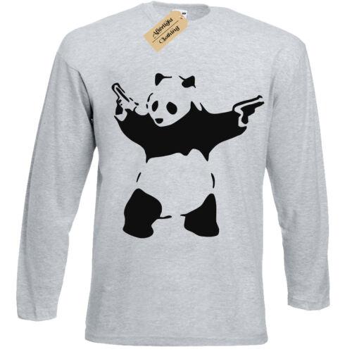 Banksy Panda T-Shirt Mens Long Sleeve Urban Graffiti Cool Fashion Tee Top