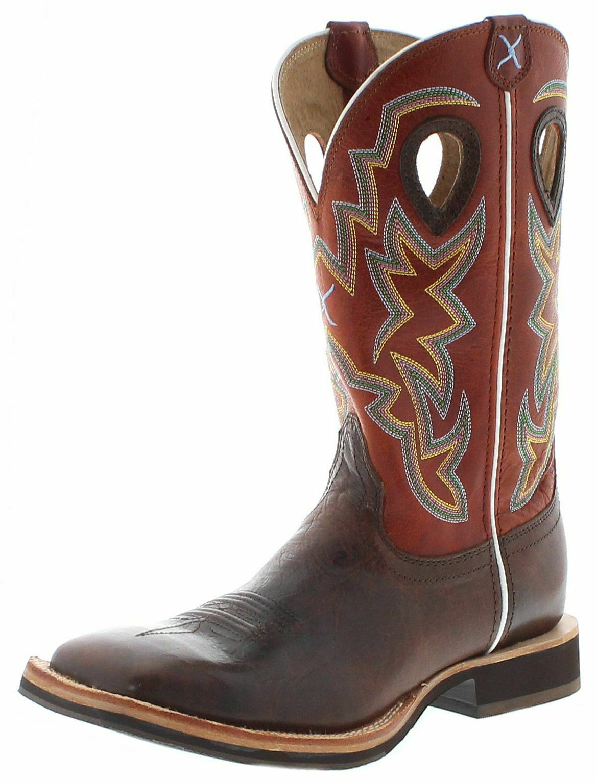 Twisted X stivali 1772 Horseman Uomo Cowboy Stivali Stivali Western MONTALA Marronee