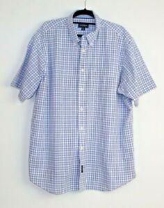 Gazman-Men-039-s-Button-Down-Short-Sleeve-Checked-Shirt-Size-XL