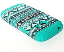 Samsung Galaxy Ace Style G310 HARD&SOFT RUBBER HYBRID CASE TURQUOISE GREEN AZTEC