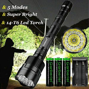 90000LM T6* LED Flashlight Super Bright 5-Mode USB Rechargeable Zoomable Torch