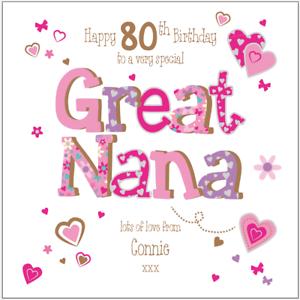 Image Is Loading Personalised 80th Birthday Card Great Nana Grandma