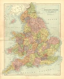 Map Of England Counties And Towns.England Wales Showing Counties Towns Railways Stanford 1906 Old