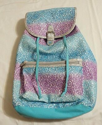 JUSTICE Girls Glitter Crochet Rucksack Backpack Purple and Blue
