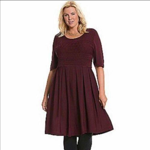 Lane Bryant Wine fit & Flare Pleated Dress 18/20