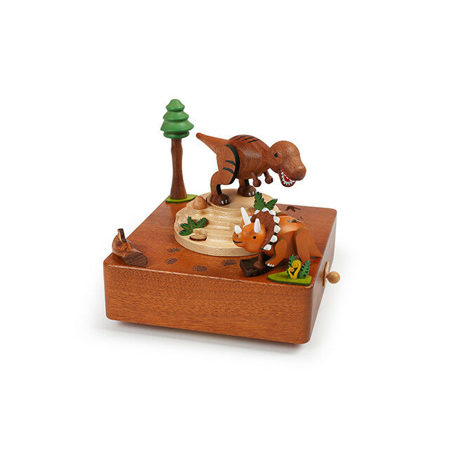 T-Rex & Triceratops Dinosaur rossoating Music Box - Kid Gift Prehistoric