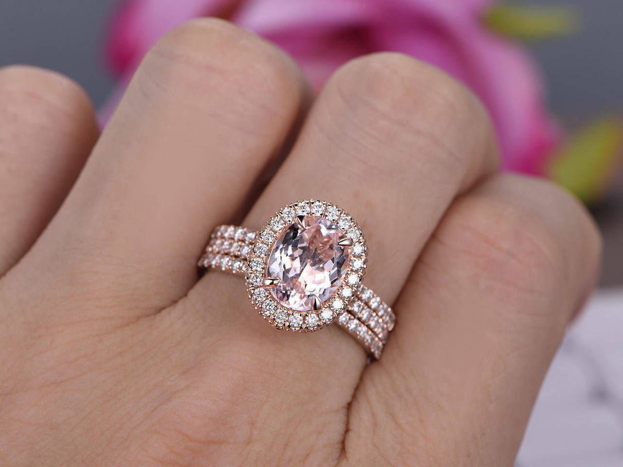 9x7mm Oval-Cut Morganite & Diamond Engagement Halo Trio Ring 14k pink gold Over