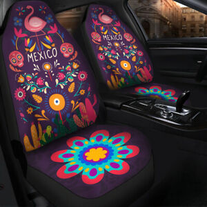 Fits Ford fiesta front car seat cover black//purple w//frog,owl,dragonfly,flamingo