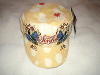 Sinful By Affliction Woman Star Hat Tie Die Yellow Bird Military Adjustable