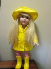 "Madame Alexander Doll Blonde Hair Blue Eyes 19"" Raincoat & Hat Yellow Boots"