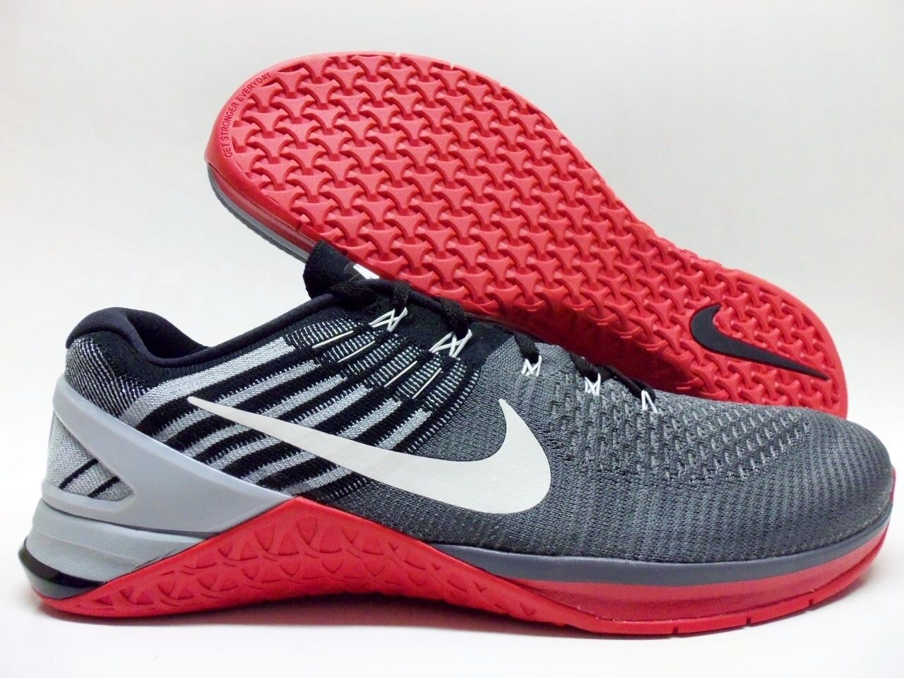 NIKE METCON DSX FLYKNIT DARK GREY/WHITE-UNIVERSITY RED Price reduction