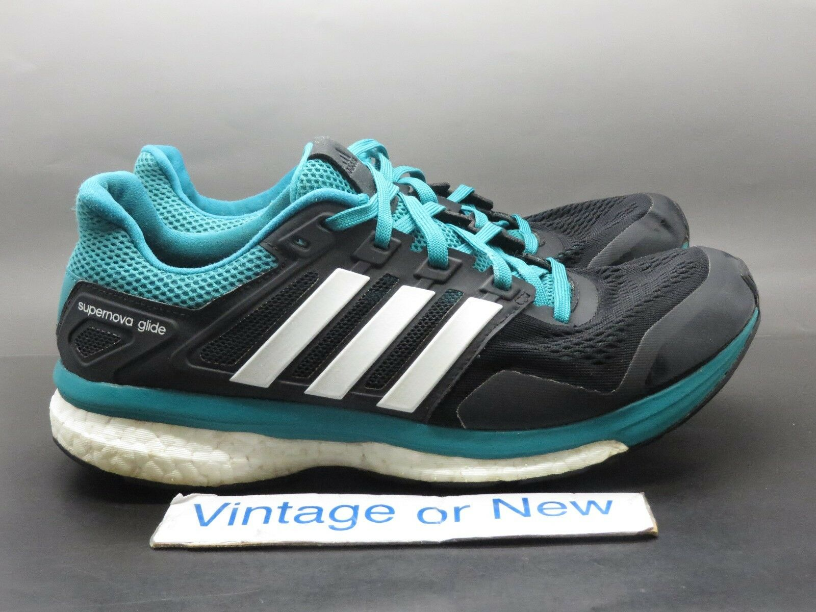 Men's Adidas Supernova Glide 8 Core Black White Green Running Shoes AF6547 sz 9