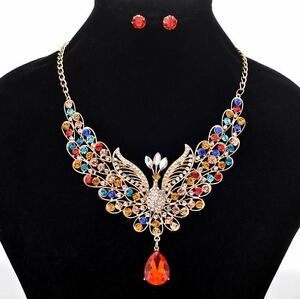 GOLD-TONE-MULTI-COLOUR-PEACOCK-RHINESTONE-CRYSTAL-NECKLACE-SET-WITH-BLUE-DROP