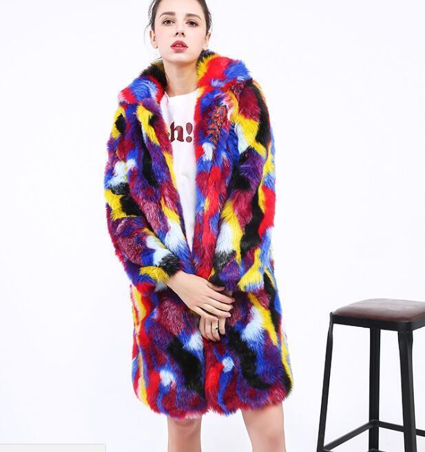 Womens Mixed color Faux Faux Faux Fur Coats Lapel Loose Sexy Clubwear Fashion Parka Warm b750fa