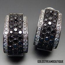 GIORGIO VISCONTI ITALY 18K WHITE GOLD 3.0 CTW BLACK & WHITE DIAMONDS EARRINGS