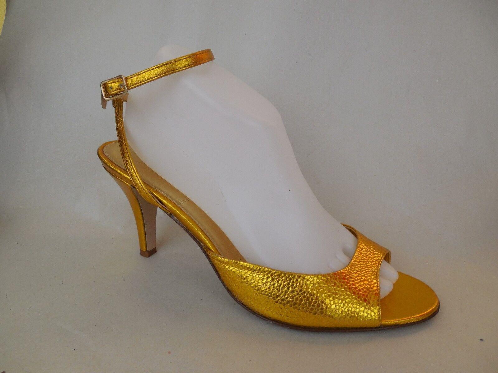 J CREW Heel Gold Leather Ankle Strap Heel CREW Pump Stiletto Size 9 M Italy Sexy Open Toe 17353b