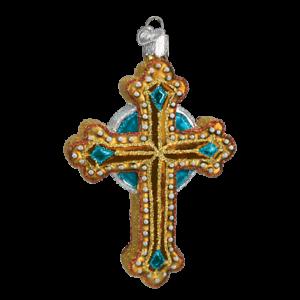 Old-World-Christmas-JEWELED-CROSS-w-Blue-36068-N-Glass-Ornament-w-OWC-Box