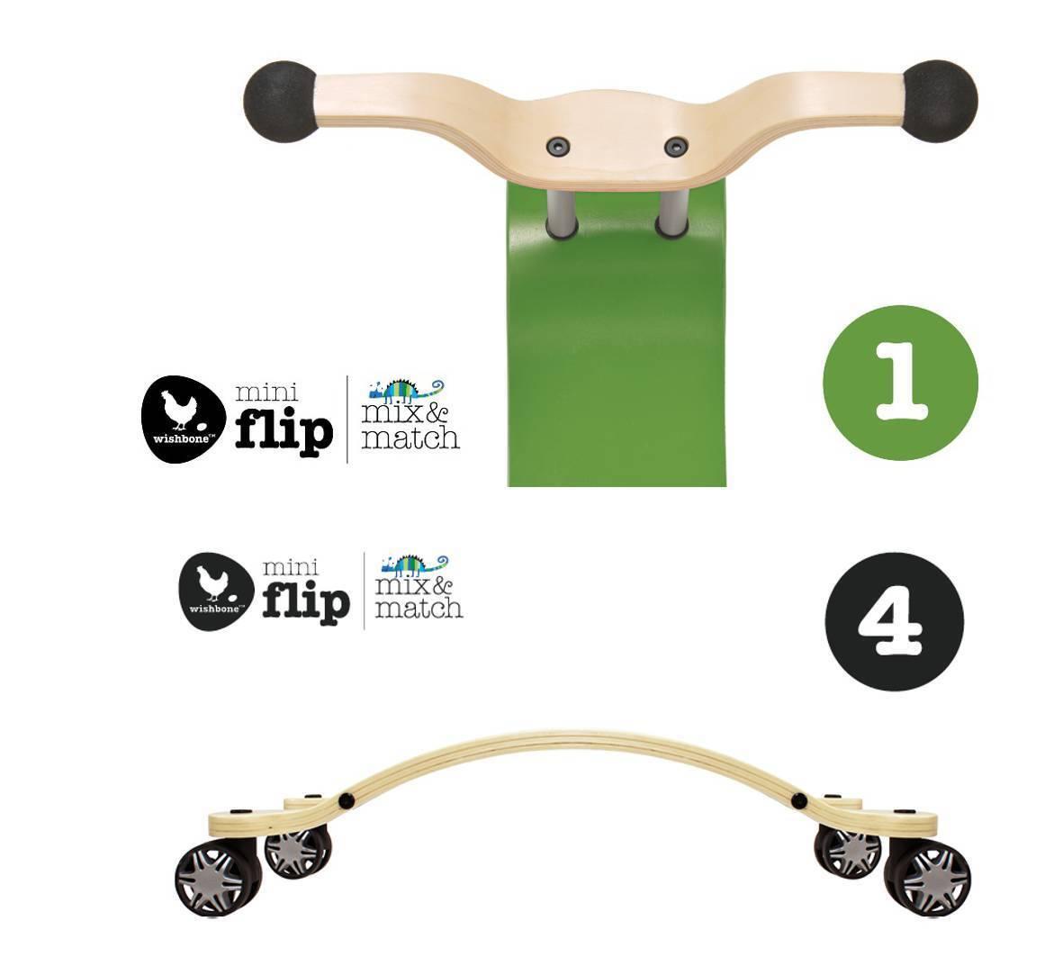 Wishbone mini FLIP mix&match 2in1 - Top grün + Race Base (360° drehbaren Räder)